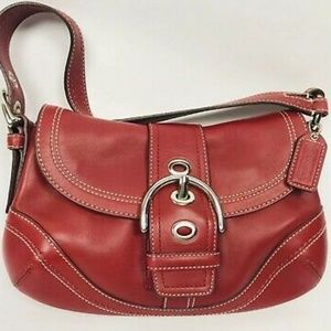 Authentic coach cranberry red Soho buckle purse